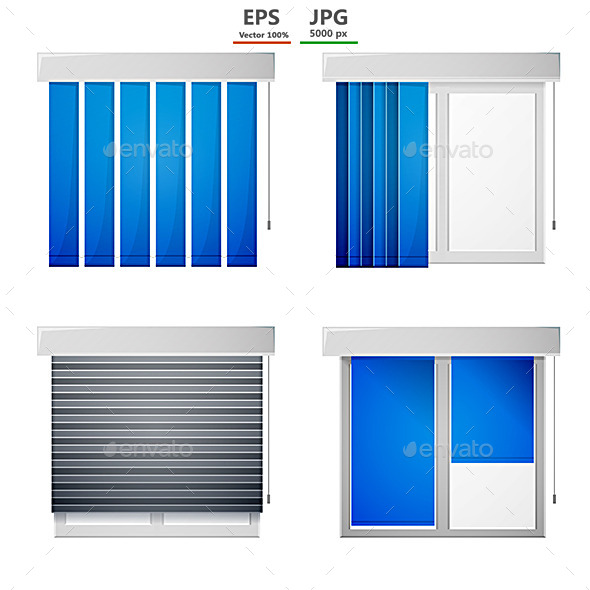 Vector Icons for Window Louvers - Buildings Objects