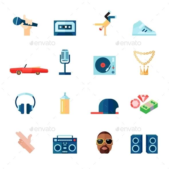 Rap Music Icons Set Flat - Web Elements Vectors