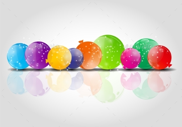Color Glossy Balloons Background Vector Illustration - Birthdays Seasons/Holidays