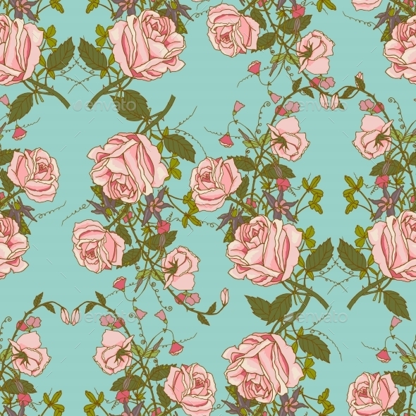 Vintage Floral Seamless Color Pattern - Backgrounds Decorative