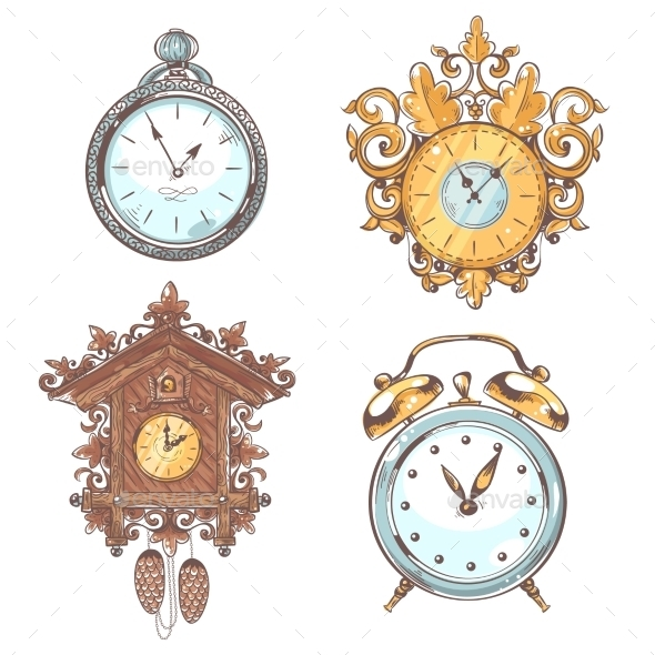 Old Vintage Clock Set - Man-made Objects Objects