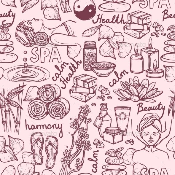 Spa Sketch Seamless Pattern - Backgrounds Decorative