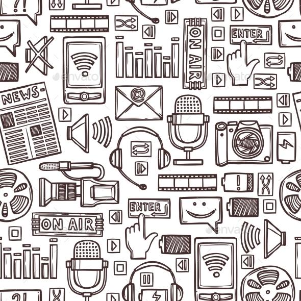Media Sketch Seamless Pattern - Backgrounds Decorative