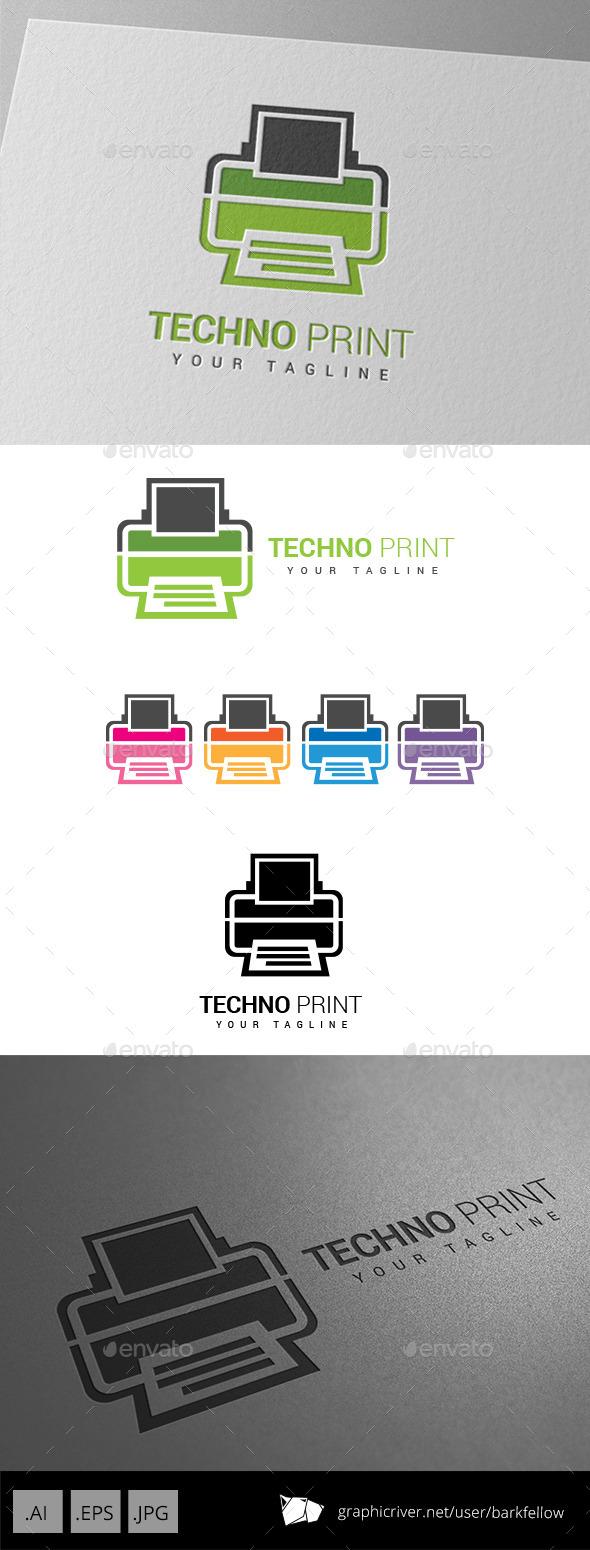 Techno Printing Logo - Objects Logo Templates