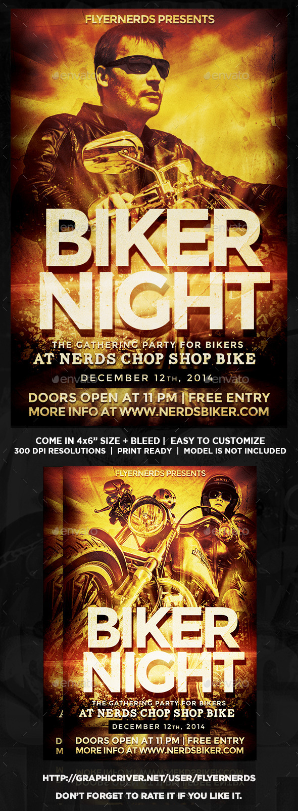 Biker Night Gathering Party Flyer - Clubs & Parties Events