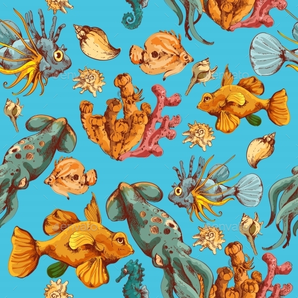 Sea Creatures Sketch Colored Seamless Pattern - Backgrounds Decorative