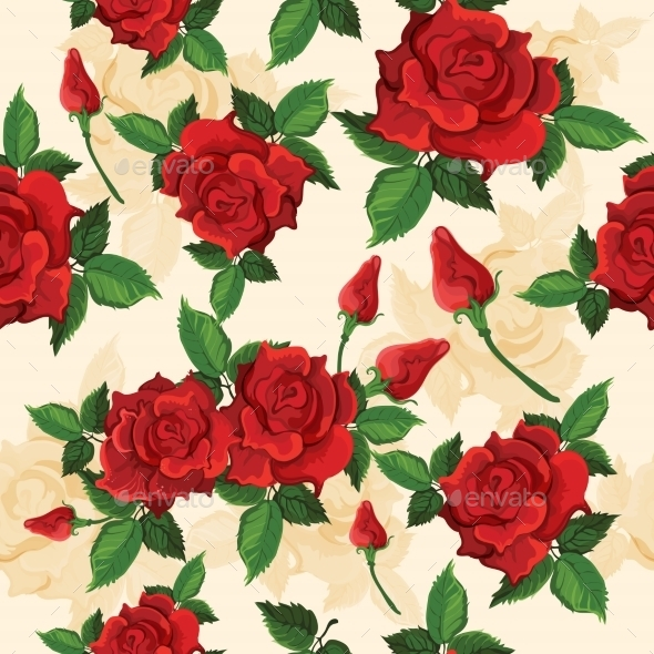 Roses Seamless Pattern - Backgrounds Decorative