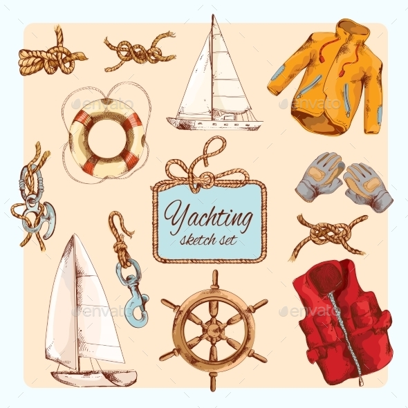 Yachting Sketch Set - Travel Conceptual