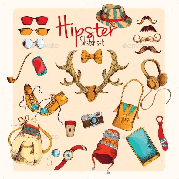 Hipster Sketch Set - Decorative Symbols Decorative