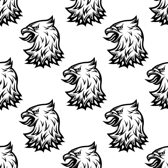 Stylized Black Eagle Seamless Pattern - Backgrounds Decorative