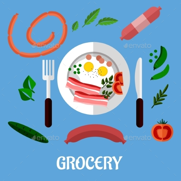 Breakfast with Groceries Flat Design - Food Objects