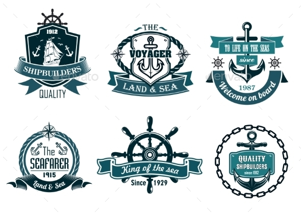 Blue Nautical and Sailing Themed Banners or Icons - Travel Conceptual