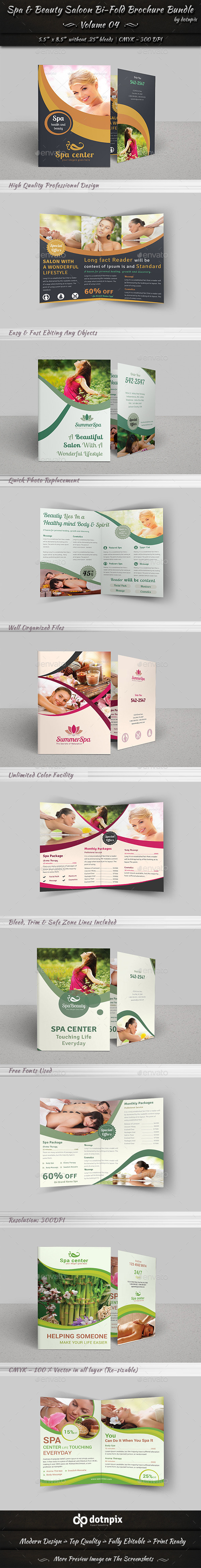 Spa & Beauty Saloon Bi-Fold Brochure Bundle | v4 - Corporate Brochures