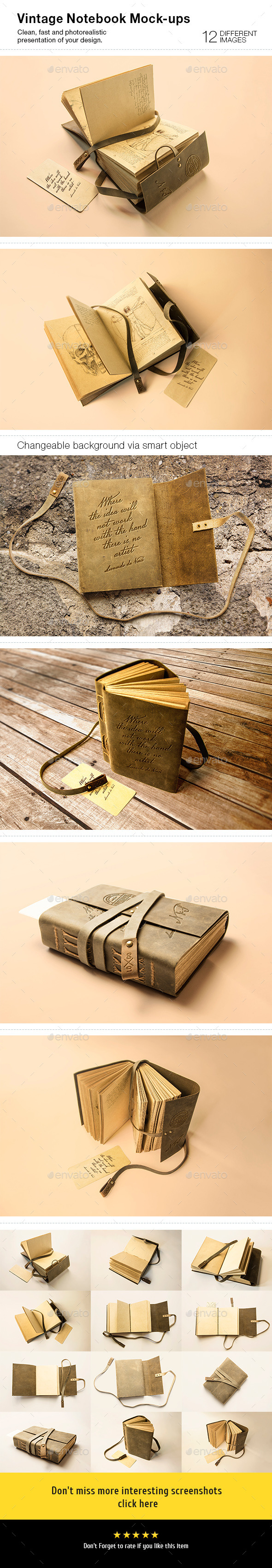 12 Vintage Notebook Mock-Ups - Stationery Print