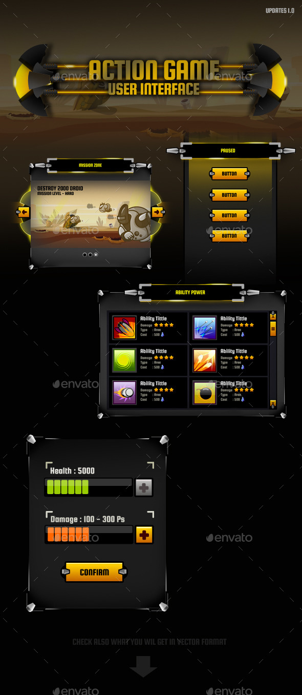 Action Game GUI - User Interfaces Game Assets