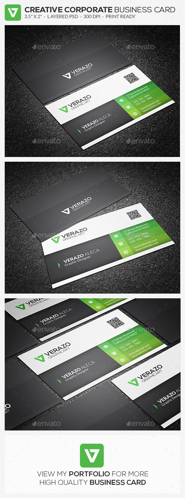 Green Corporate Business Card 63 - Corporate Business Cards