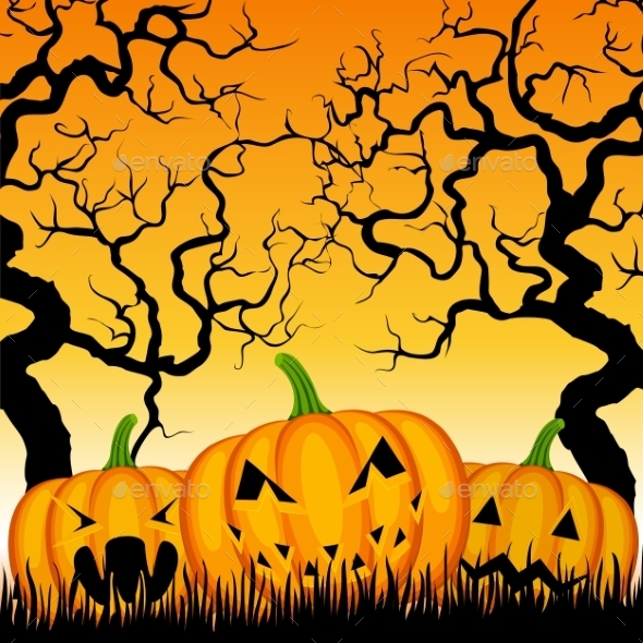 Three Pumpkins and Trees  - Halloween Seasons/Holidays