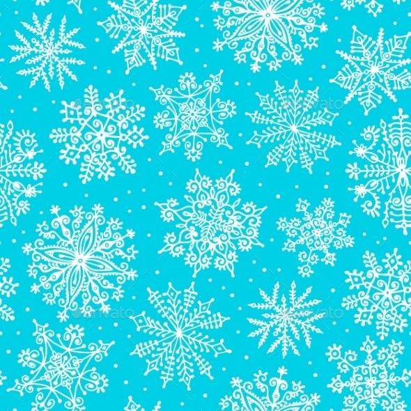 Hand drawn snowflakes. Seamless pattern.  - Christmas Seasons/Holidays