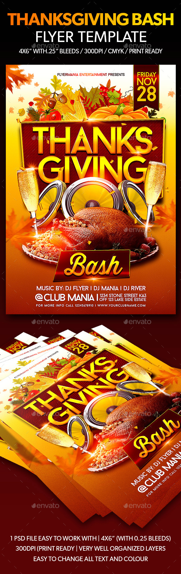 Thanksgiving Bash Flyer Template - Events Flyers