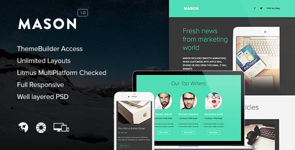 Mason – Responsive Email + Themebuilder Access