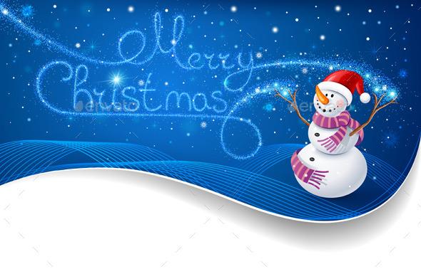 Snowman with Christmas Text - Christmas Seasons/Holidays
