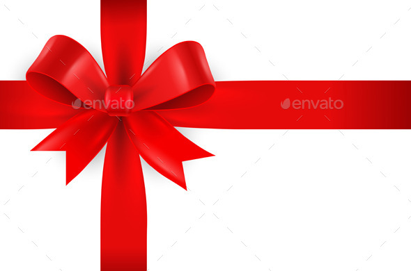 Red Bow on White Background - Christmas Seasons/Holidays