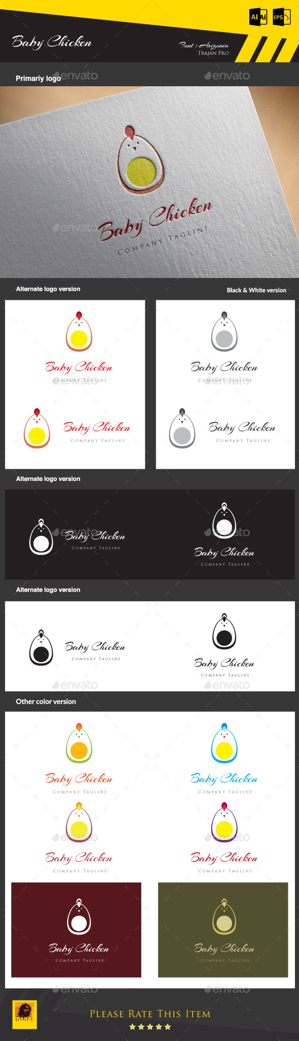 Baby Chicken  - Animals Logo Templates