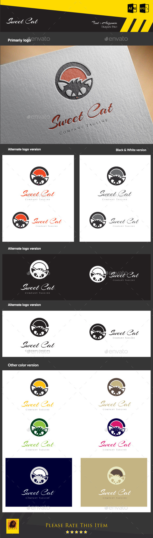 Sweet Cat - Animals Logo Templates