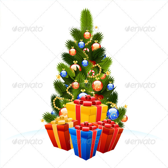 Christmas Tree with Gift Boxes - Christmas Seasons/Holidays