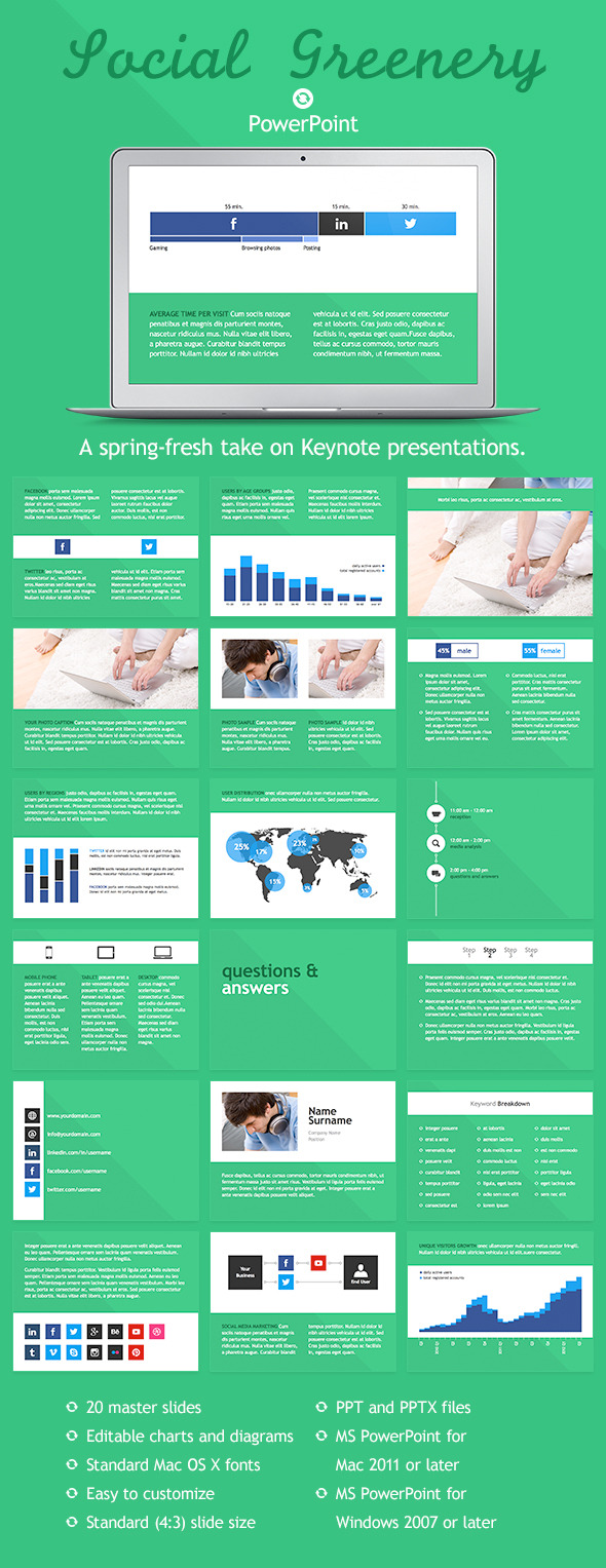 Social Greenery PowerPoint Template - PowerPoint Templates Presentation Templates