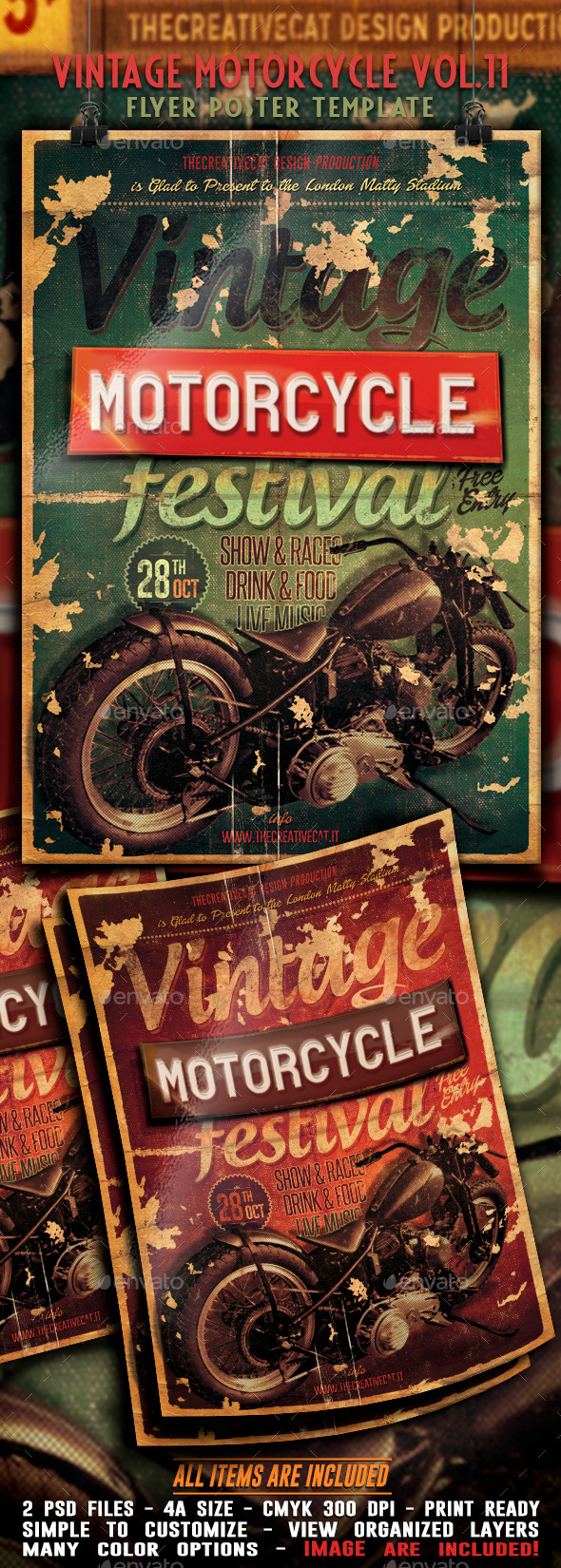 Vintage Motorcycle Flyer/Poster Vol. 11 - Events Flyers