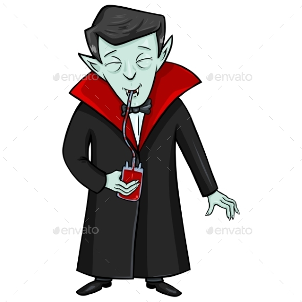 Halloween Character - Vampire Drinks Blood - Halloween Seasons/Holidays