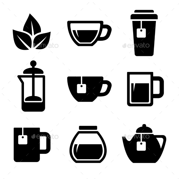 Tea Icons Set. Vector. - Food Objects