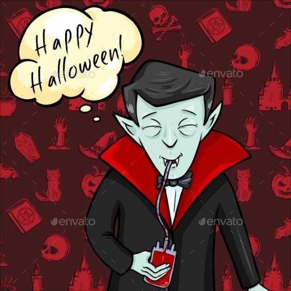 Halloween Postcard. Vampire with Bubble - Halloween Seasons/Holidays