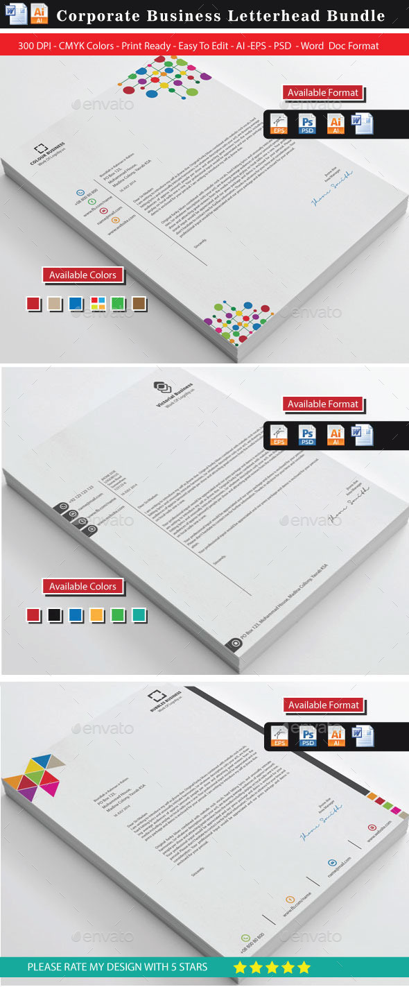 Creative Letterhead Bundle - Stationery Print Templates
