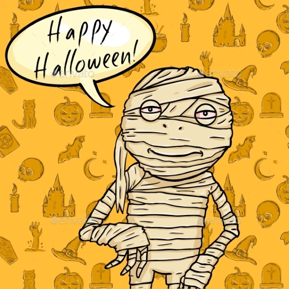 Halloween Postcard. Mummy with Bubble - Halloween Seasons/Holidays