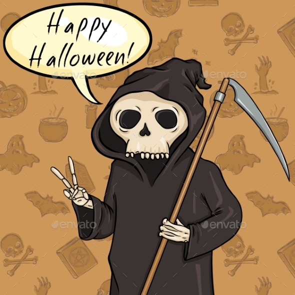 Halloween Postcard  Death with Scythe - Miscellaneous Vectors