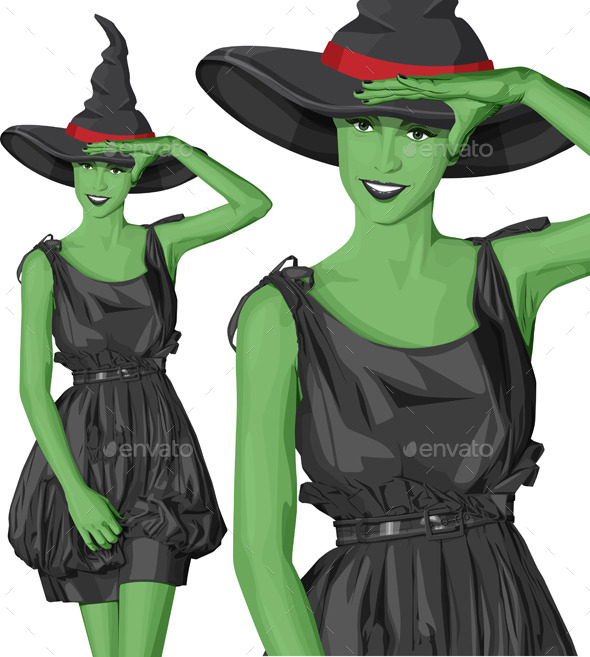 Green Witch Woman with Hat on Halloween - Halloween Seasons/Holidays