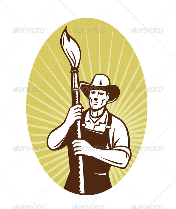 Painter Holding A Paintbrush - Industries Business