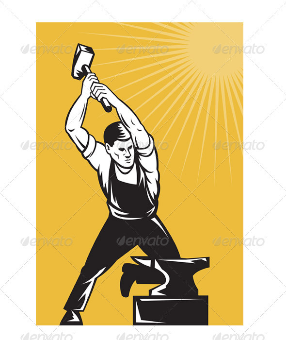 Blacksmith Holding Hammer with Anvil - Industries Business