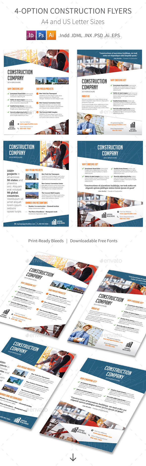 Construction Company Flyers – 4 Options - Corporate Flyers