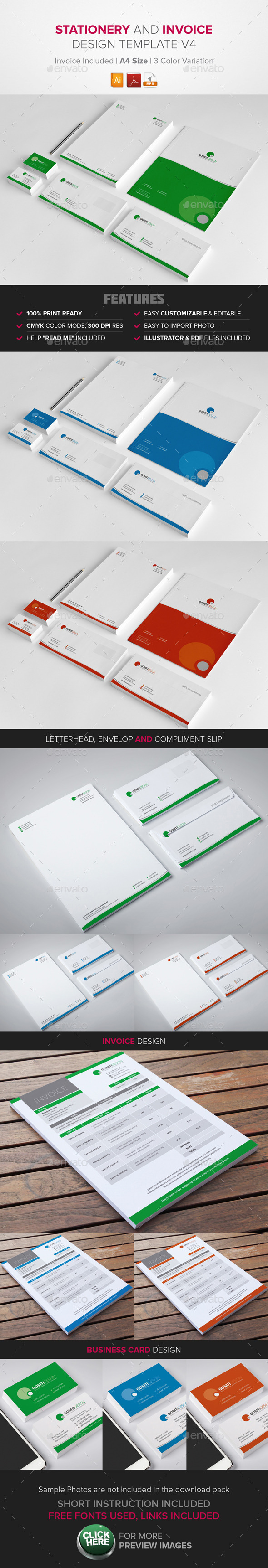 Stationary & Invoice Design Template v4 - Stationery Print Templates