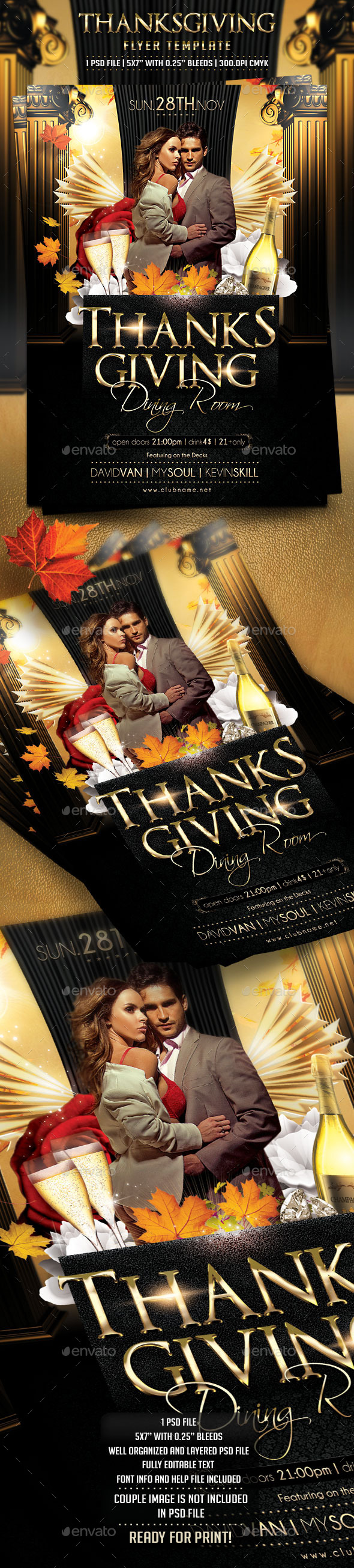 Thanksgiving Day Flyer Template - Clubs & Parties Events