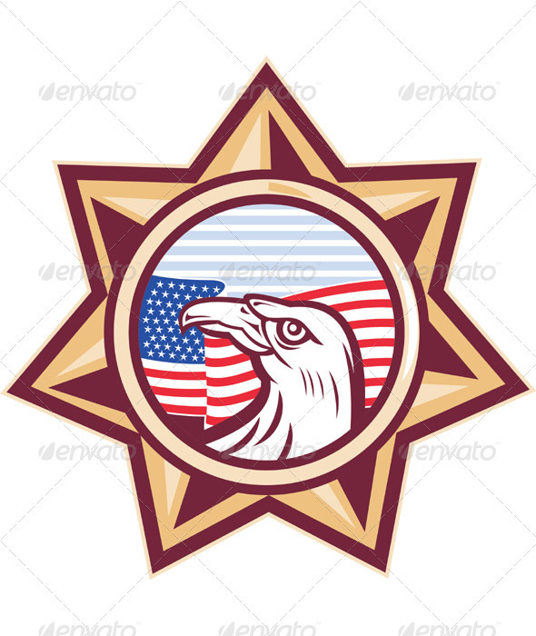 American Eagle with Flag and Star - Industries Business
