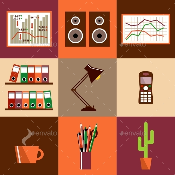 Set of Office Icons - Business Conceptual