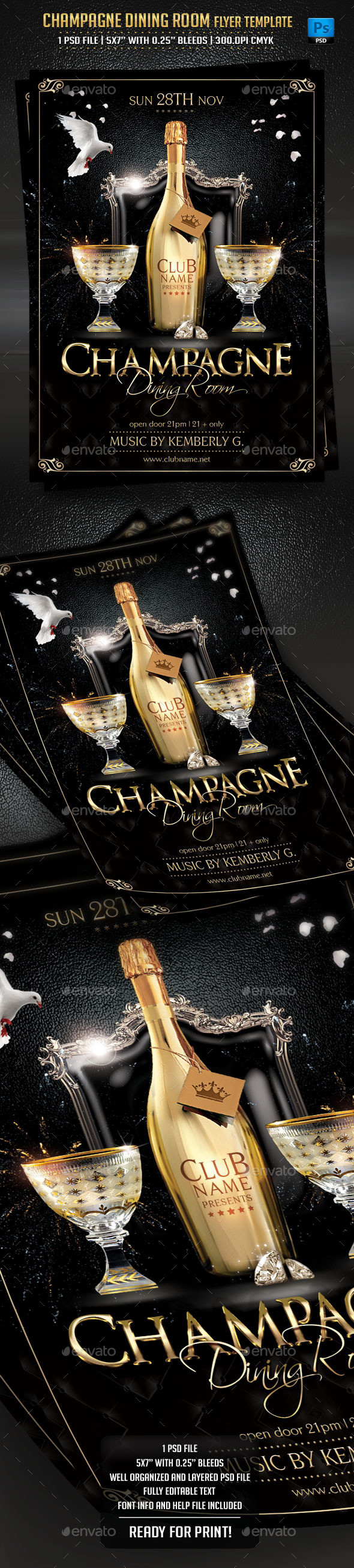 Champagne Dining Room Flyer Template - Clubs & Parties Events