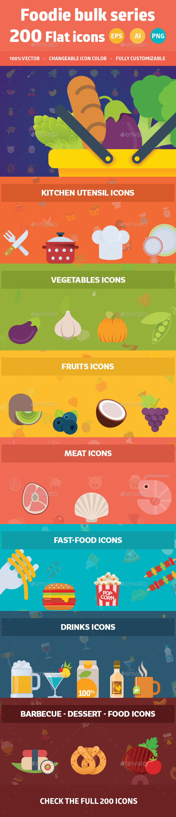 200 Food Flat Colorful Icons - Food Objects