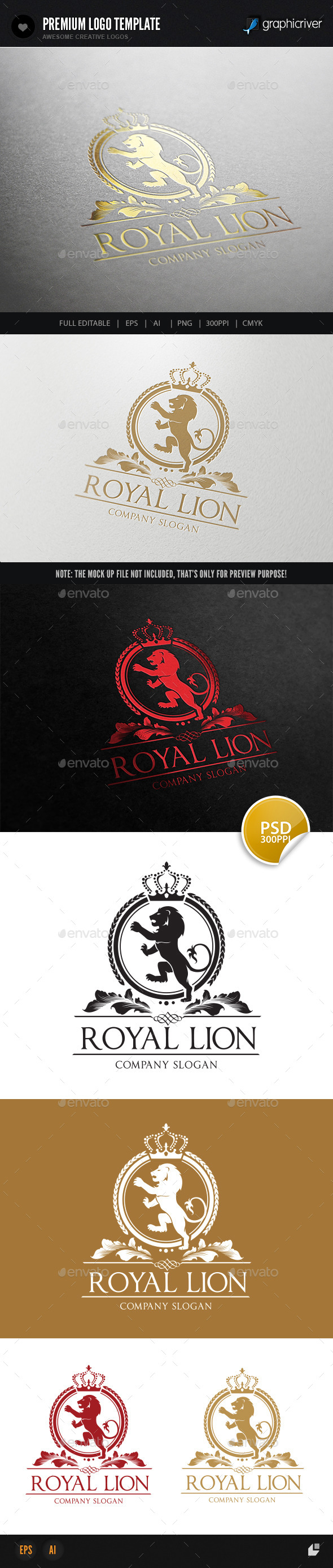 Royal Lion - Crests Logo Templates
