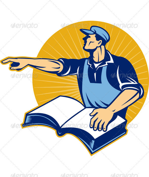 Worker With Book Pointing Finger - Industries Business