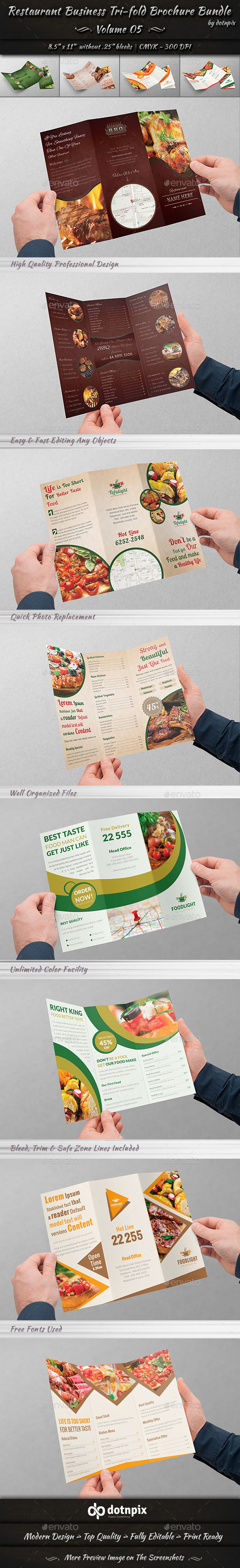 Restaurant Tri-Fold Brochure Bundle | Volume 5 - Corporate Brochures